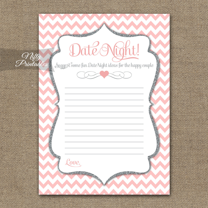 Bridal Shower Date Night Ideas - Pink Silver Chevron