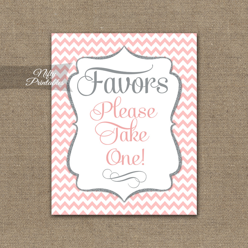 Favors Sign - Pink Chevron