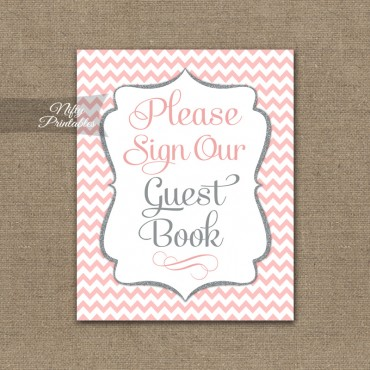 Guest Book Sign - Pink Chevron