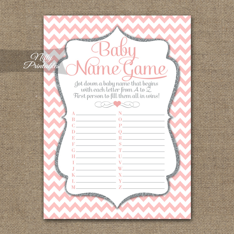 Name Game Baby Shower - Pink Silver Chevron