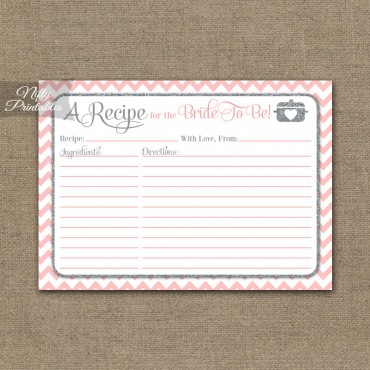 Bridal Shower Recipe Cards - Pink Silver Chevron