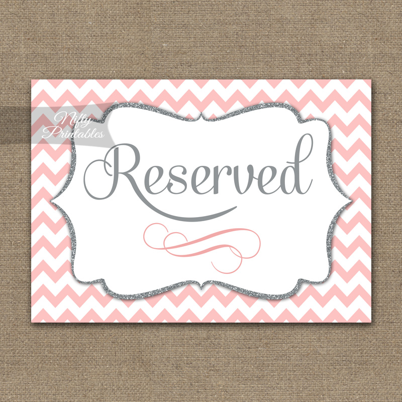Reserved Sign - Pink Chevron