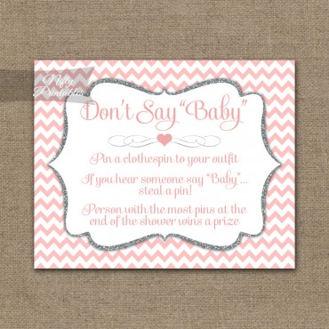 Don't Say Baby Shower Game - Pink Silver Chevron