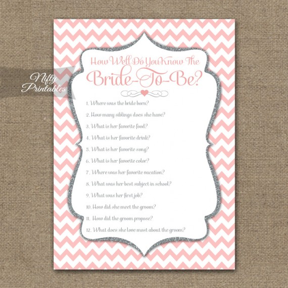 How Well Do You Know The Bride - Pink Silver Chevron