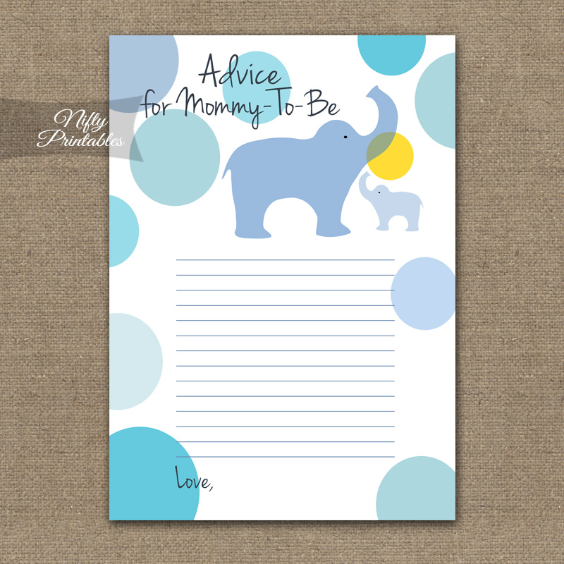 Advice For Mommy Baby Shower Game - Blue Elephants
