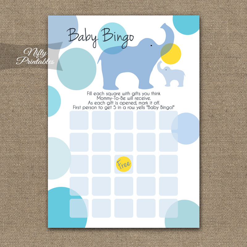 Baby Shower Bingo Game - Blue Elephants