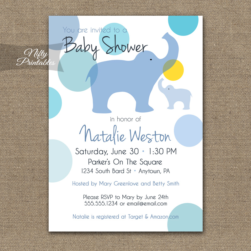 Blue Elephants Baby Shower Invitation