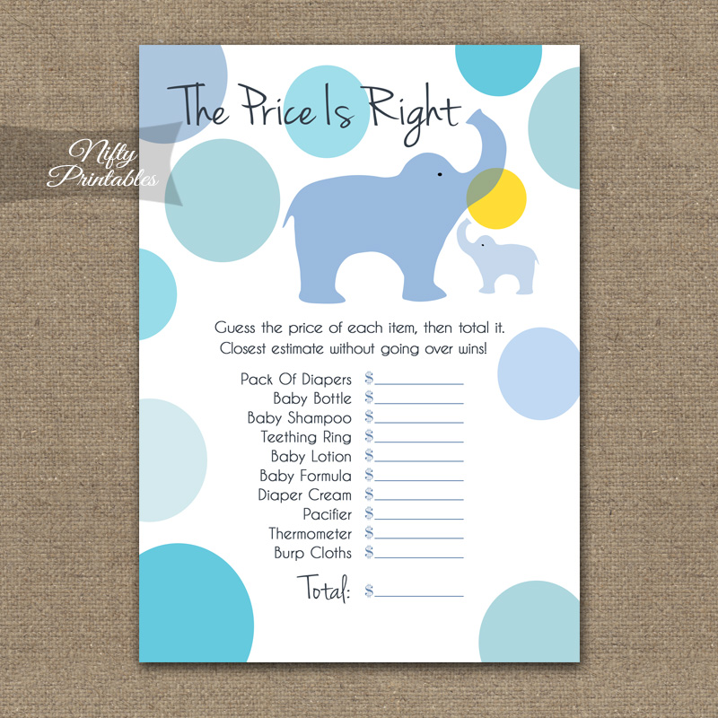 Price Is Right Baby Shower - Blue Elephants