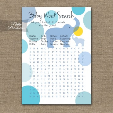 Baby Shower Word Search Game - Blue Elephants