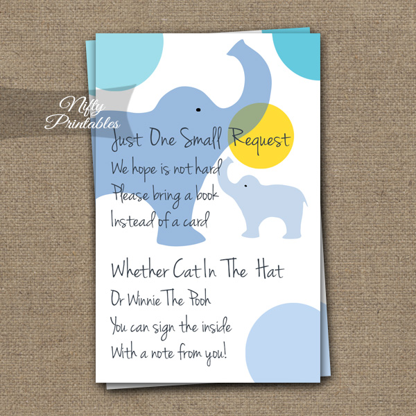 Bring A Book Baby Shower Insert - Blue Elephants