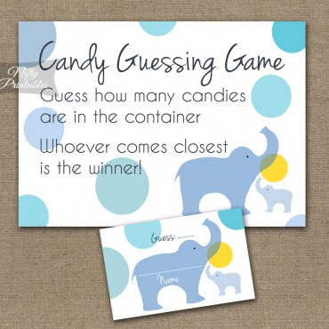 Candy Guessing Game - Blue Elephants
