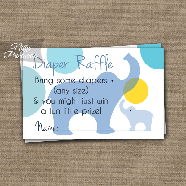 Diaper Raffle Baby Shower - Blue Elephants