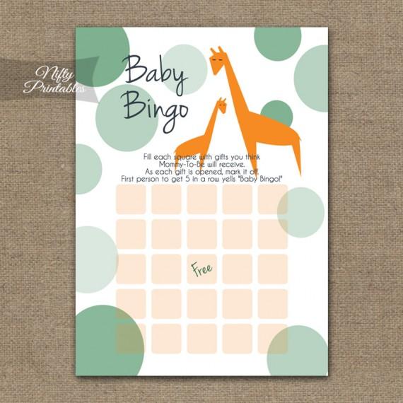Baby Shower Bingo Game - Orange Giraffes