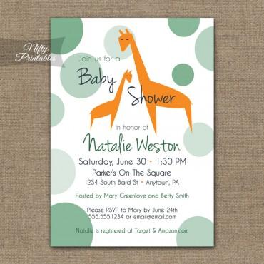 Orange Giraffes Baby Shower Invitation