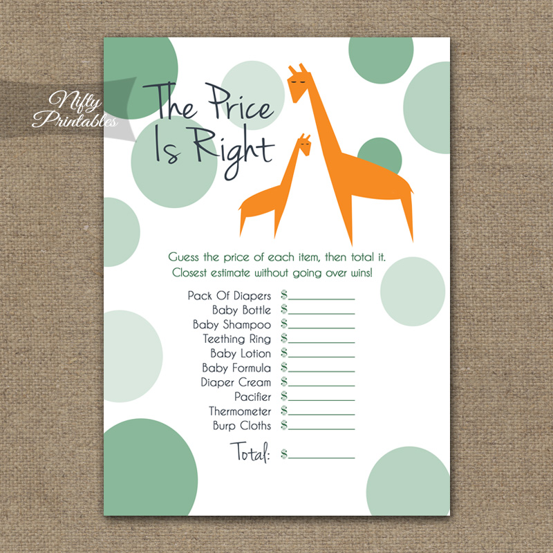 Price Is Right Baby Shower Game - Orange Giraffes