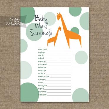 Baby Shower Word Scramble Game - Orange Giraffes