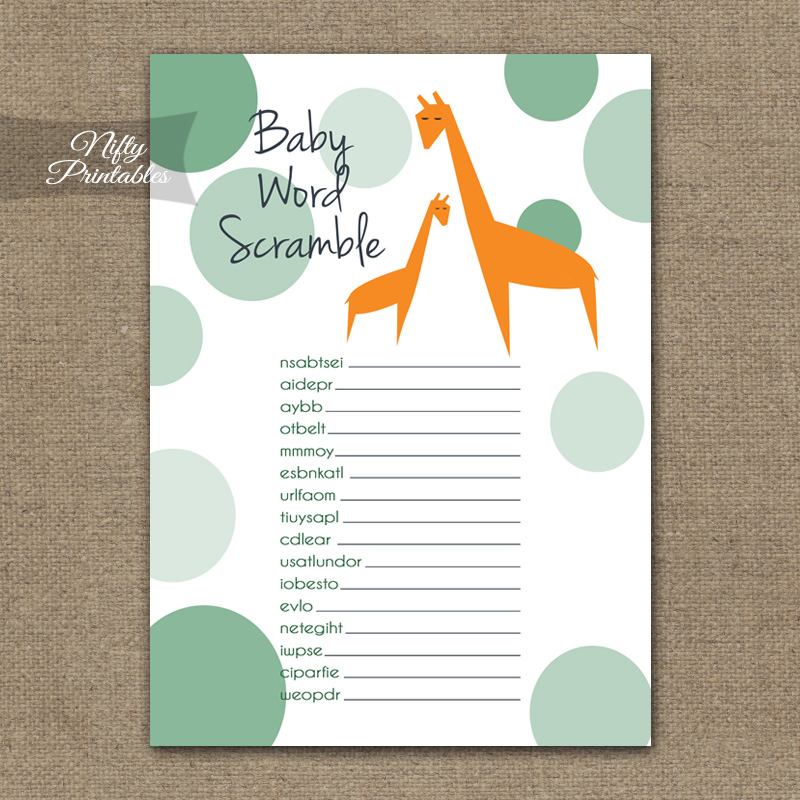 photograph relating to Baby Shower Word Scramble Printable identify Boy or girl Shower Phrase Scramble Sport - Orange Giraffes