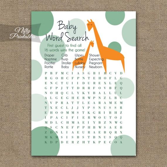Baby Shower Word Search Game - Orange Giraffes