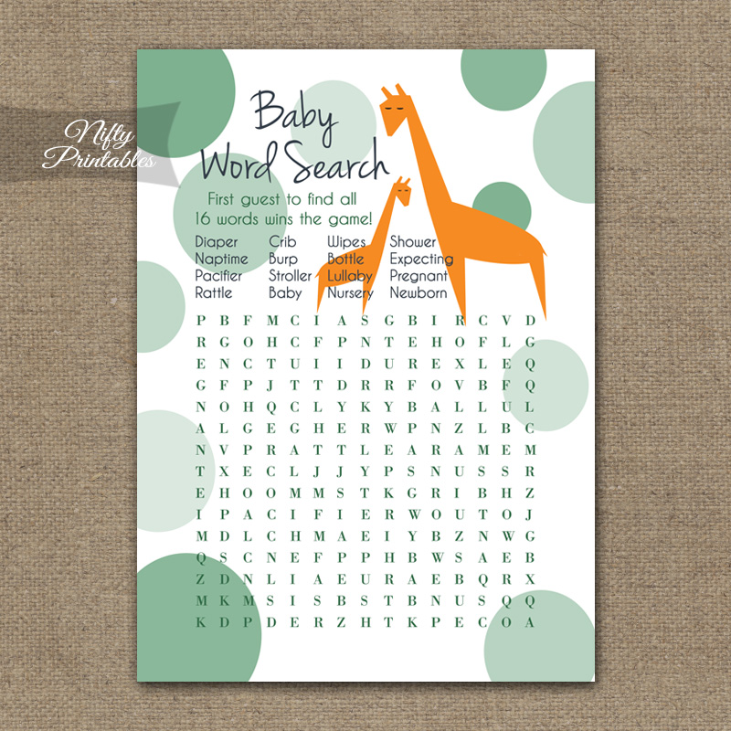 Baby Shower Word Search Game - Orange Giraffes