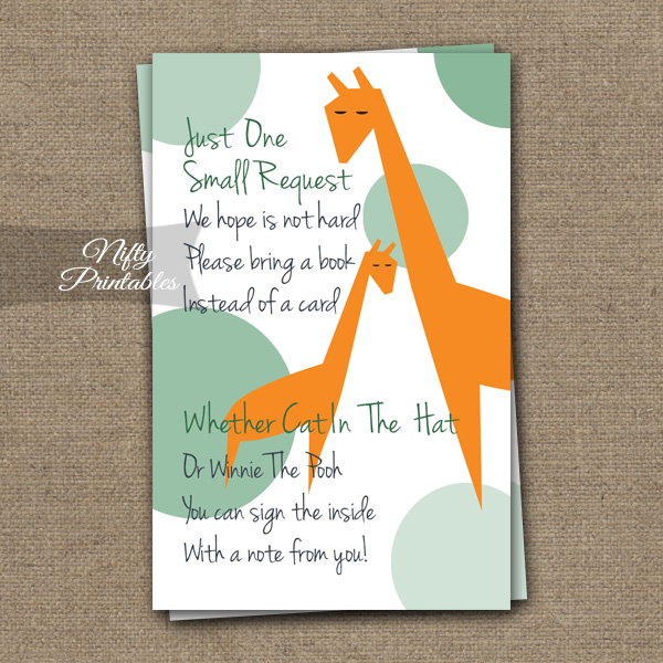 Bring A Book Baby Shower Insert - Orange Giraffes
