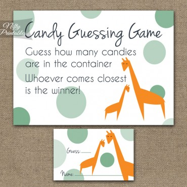 Candy Guessing Game - Orange Giraffes