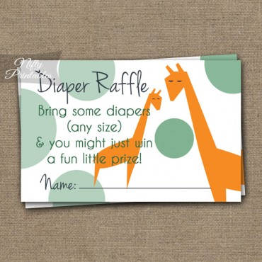 Diaper Raffle Baby Shower - Orange Giraffes