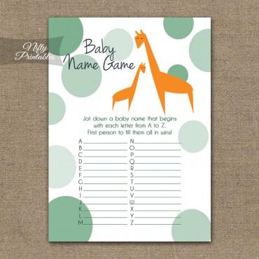 Name Game Baby Shower - Orange Giraffes