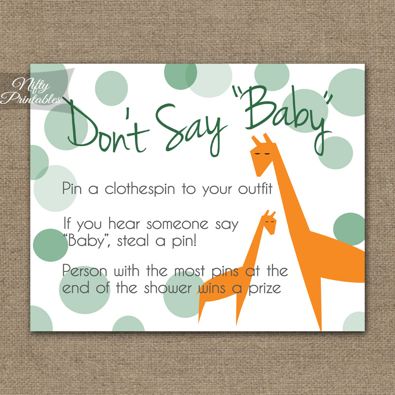 Don't Say Baby Shower Game - Orange Giraffes