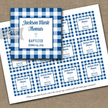 Royal Blue Gingham Baptism Favor Tags