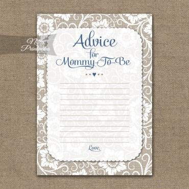 Advice For Mommy Baby Shower Game - White Lace