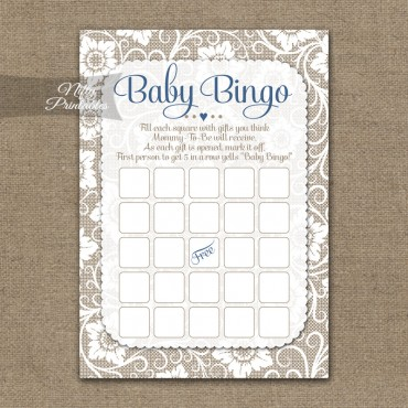 Baby Shower Bingo Game - White Lace