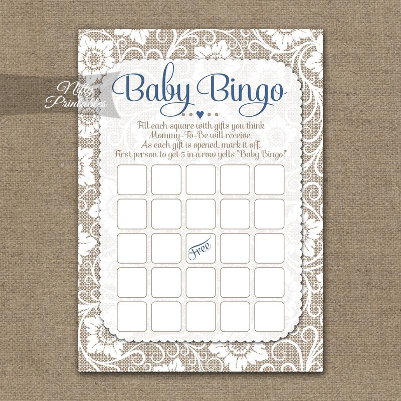 Baby Shower Bingo Game - White Lace