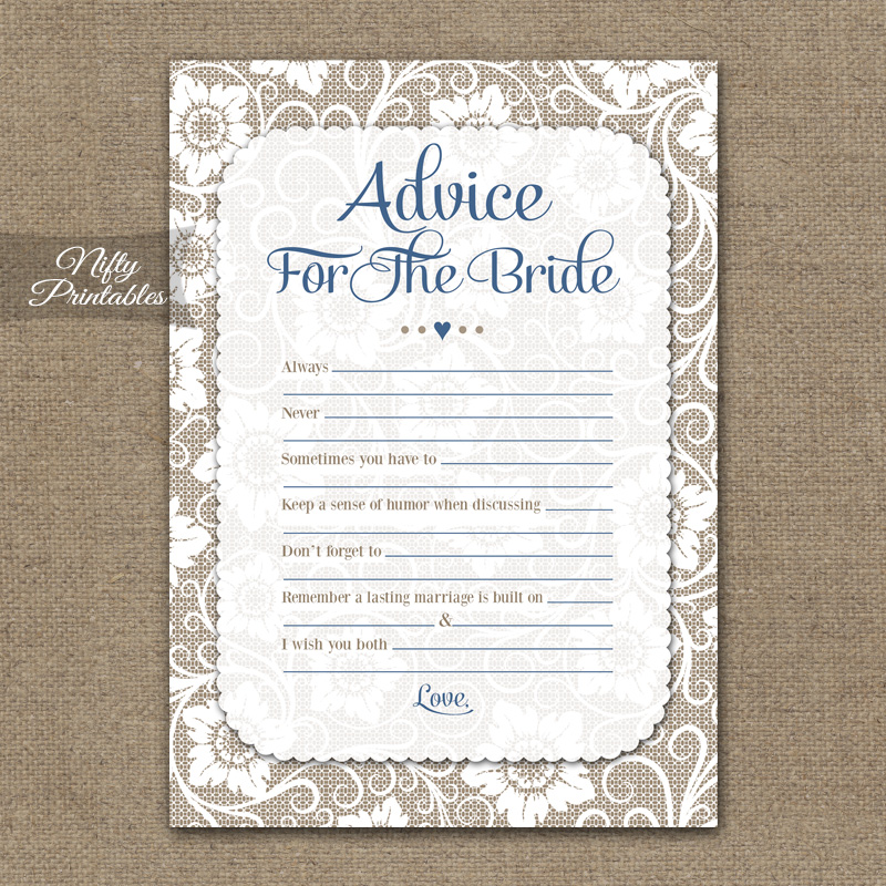 Bridal Shower Advice Cards - White Lace