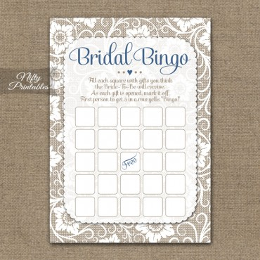 Bridal Shower Bingo Game - White Lace