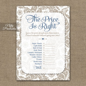 Price Is Right Bridal Shower - White Lace