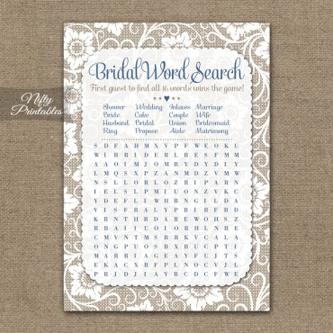 Bridal Shower Word Search Game - White Lace