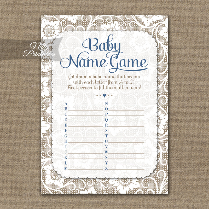 Name Game Baby Shower - White Lace