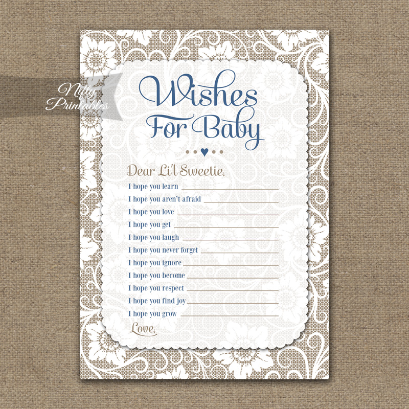 Wishes For Baby Shower Game - White Lace