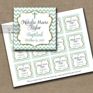Mint Chevron Baptism Favor Tags