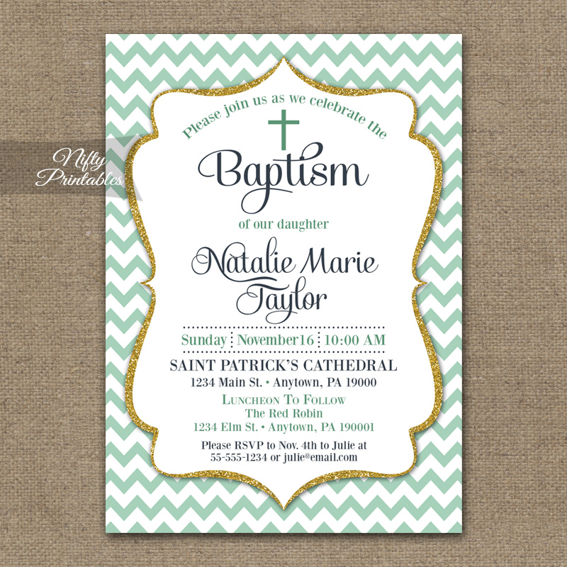 Mint Chevron Baptism Invitations - Green Gold Glitter