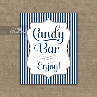 Candy Buffet Sign - Navy Blue Silver Stripe
