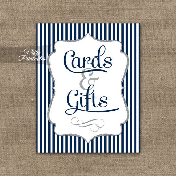 Cards & Gifts Sign - Navy Blue Silver Stripe