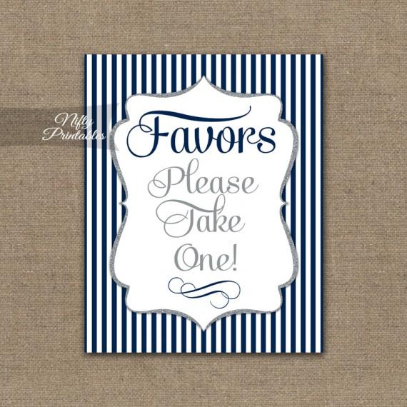 Favors Sign - Navy Blue Silver Stripe