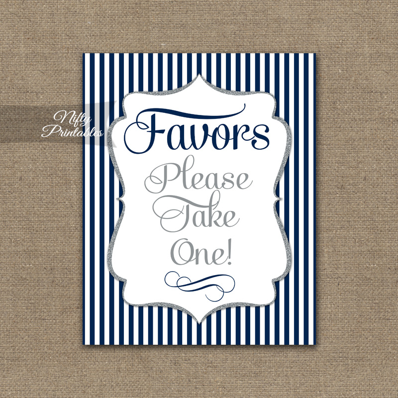 Favors Sign - Navy Blue Silver Stripe