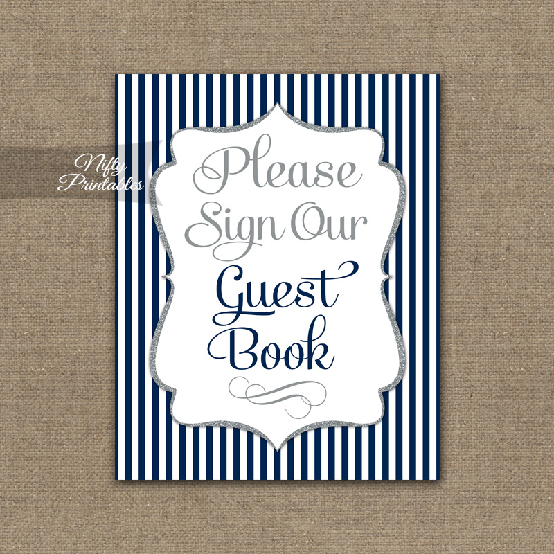 Guest Book Sign - Navy Blue Silver Stripe