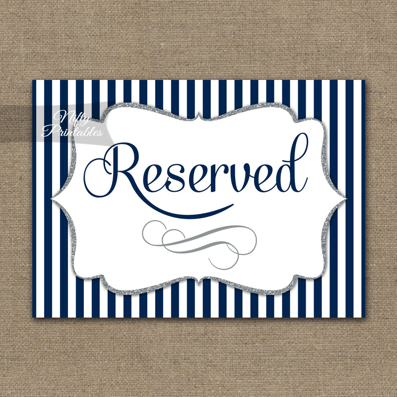 Reserved Sign - Navy Blue Silver Stripe