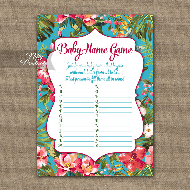 Name Game Baby Shower - Tropical Luau