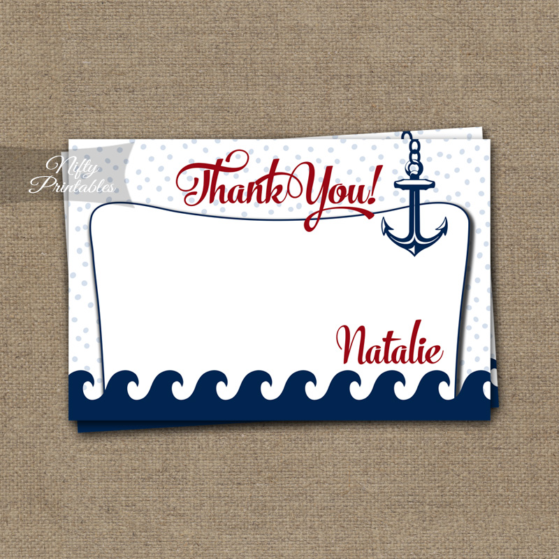 Red Nautical Baby Shower Invitation - Red Nautical - Nifty Printables