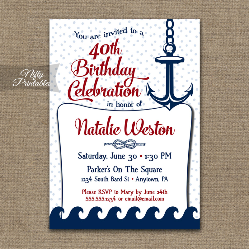 Red Nautical Birthday Invitation - Red Nautical - Nifty Printables
