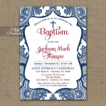 Navy Blue Baptism Invitations - Red White & Blue